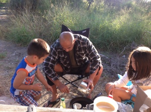 Nothing like breakfast outdoors with some hot coffee and sleepy kids in the morning.