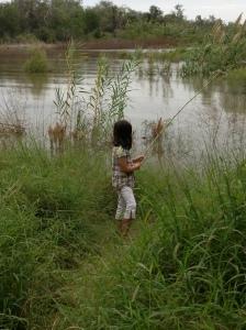 The kids having fun at the lake.