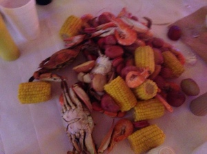 """Cajun style ""table dump"" at the Boiling Pot in Fulton includes shrimp, sausage, blue crab, crawfish (when in season), red potatoes , and corn.  Included are bread and mustard, horseradish mayo, and cocktail sauce."