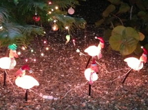 Some random flamingos dressed up for Christmas.