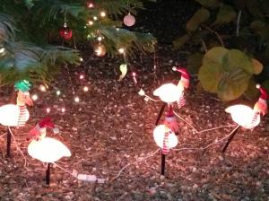 Some random flamingos dressed up for Christmas.