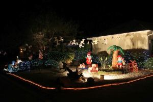 """This home has Santa surrounded by seagulls with a sign saying, """" I told Santa not to feed those birds."""""""