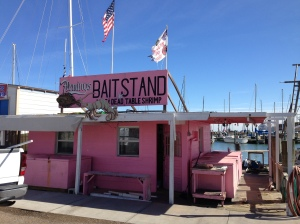 One of several colorful bait stands between Rockport Beach and downtown.
