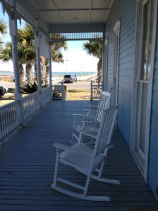 The serene porch at the Rockport Center for the Arts.