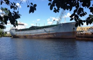"""""""This 155-freighter could become part of an artificial reef for fishing and diving offshore of Packery Channel if the Corpus Christi City Council agrees to pony up $100,000 toward the $500,000 effort."""" Photo courtesy of Caller.com"""