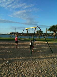 The Park next to the ferry landing in Port Aransas is a good place to take the kids on a nice day.