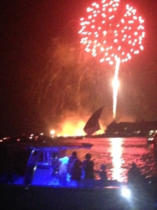 Whoops! A spoil island caught fire, but the show goes on...