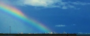 Rainbow over downtown (2)